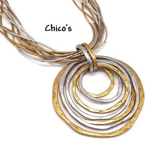 Chico's Silver Gold Tone Looped Pendant Necklace